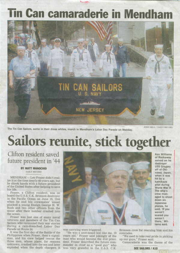 newspaper story on tin can sailors